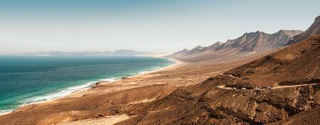 Panoramic, aerial view of a Cofete Beach at Fuerteventura, Spain