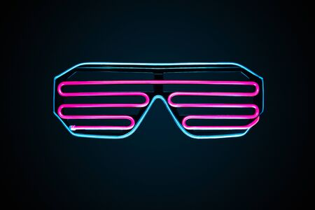 Cyberpunk futuristic neon glasses isolated on dark background