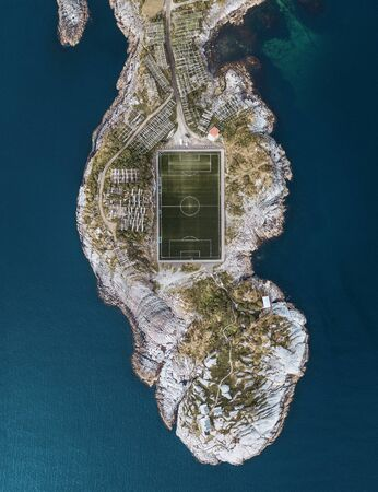 Aerial view of beautiful football field at the Lofoten islands, Norway