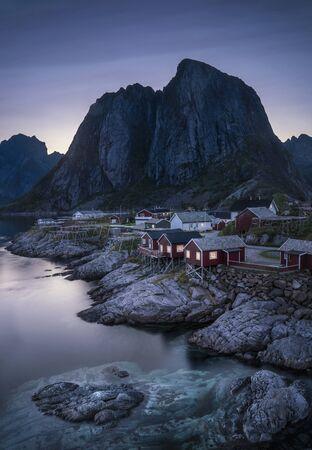 Lofoten, Norway fishing village at night