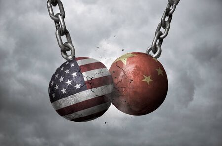 Two wrecking balls with american and chinese flags hitting each other, trade war concept