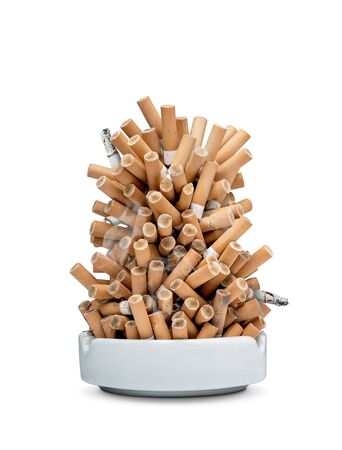 Ashtray full of cigarettes isolated on white background with copy space
