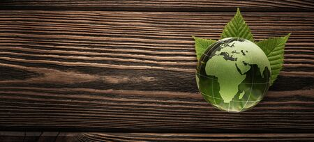 Green, glass planet earth on the wooden background with copy space