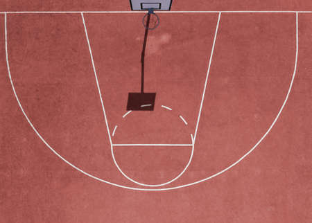 Aerial view of empty basketball court with copy space