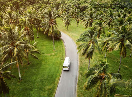 High angle view of a small camper driving through tropical landscape