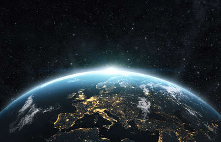 Planet earth from the space at night. 3d render, textures furnished from visibleearth.com