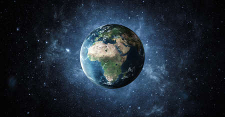 Panoramic view of planet earth with copy space, 3d render