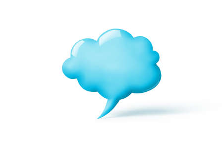 3d render of a cloud in shape of the speech bubble isolated on yellow background with copy space