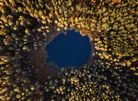 Autumn landscape, aerial view of a pond in the middle of the forest 版權商用圖片