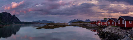 Panoramic view of a fishing village at the lofoten islands after the sunset