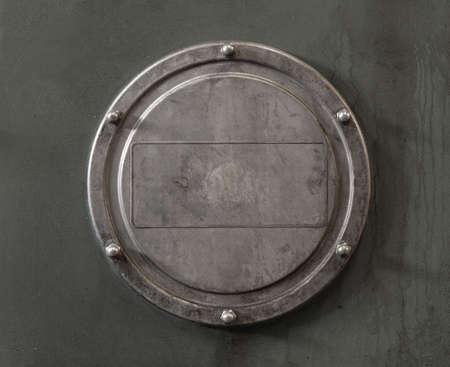 Old blank industrial metal plate with copy space