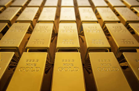 Gold bars background with copy space Archivio Fotografico
