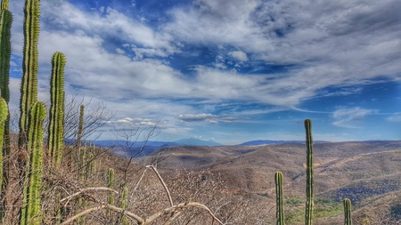 cloudy desertic view of mexican countryside