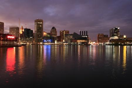 Baltimore Skyline at night Stock Photo - 13558857