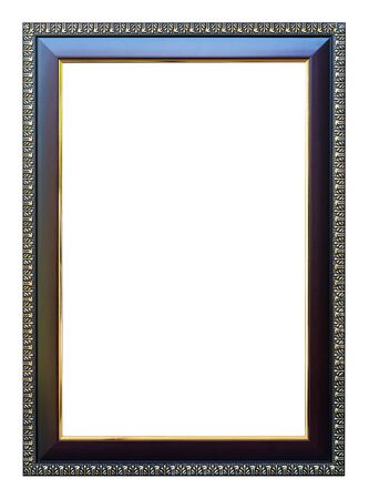 8 12: Frame size 8 X 12 color dark oak with gold trim isolated on white background.