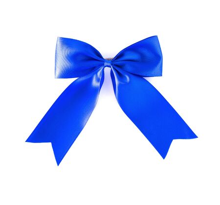 hair bow: Hair bow blue on a white background. Stock Photo
