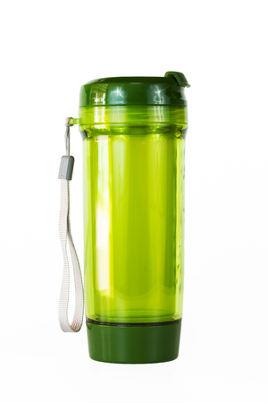 eagerly: Plastic Bottle, drink, travel green on a white background.
