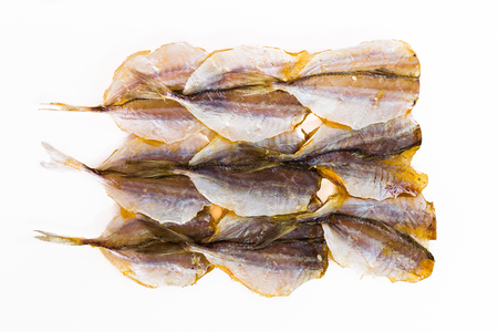 Dried fish preservation on a white background. Stock Photo