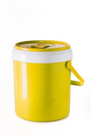 yellow water canteen isolated on white background. Stock Photo
