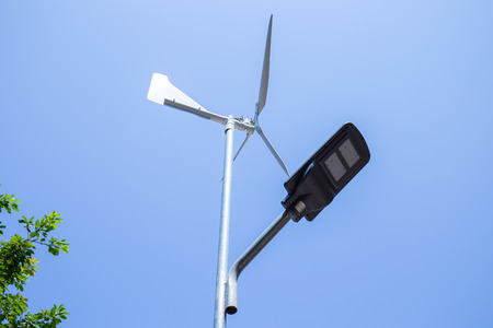 Wind turbine generates electricity to the solar panel.