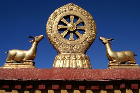 Budhism - wheel of dharma with gazelles Imagens