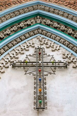 metall lamp: church-wall with cross and coloured light-bulbs, Ecuador