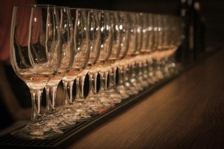 rhum: rum-tasting  row of rum-glasses