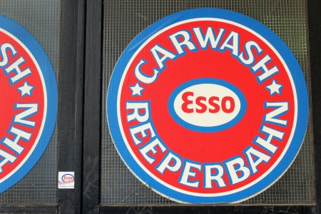 reeperbahn: sign of the esso-carwash at Hamburgs famous  Reeperbahn