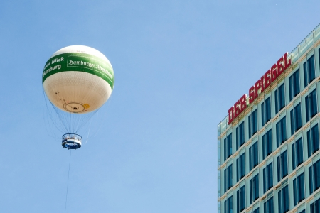 hot-air-balloon with the label  Hamburger Abendblatt  in front of the publishing-building of  Der Spiegel , Hamburg Editorial