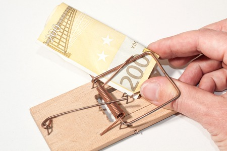 mousetrap with fingers and 200-Euro-Note photo