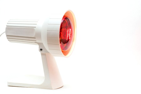 close-up picture of a medicinal red-light-lamp, isolated Stock Photo