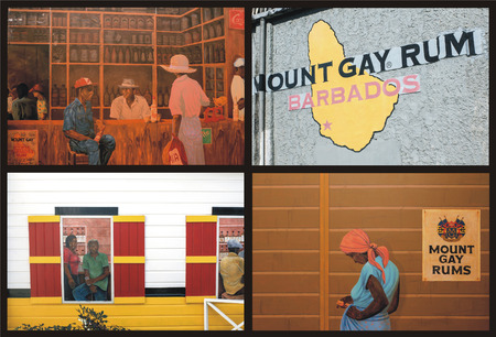 medley: medley of 4 pictures of the very famous distillery Mount Gay Rum Barbados Editorial