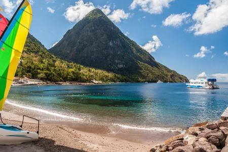 beach on St  Lucia with view at the Petit Piton Imagens