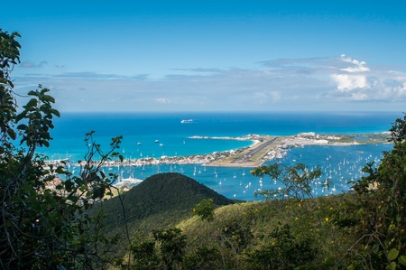 juliana: View from the hilly center of the island on the famous Maho-Beach with Princess Juliana Airport, St  Maarten, Caribbean