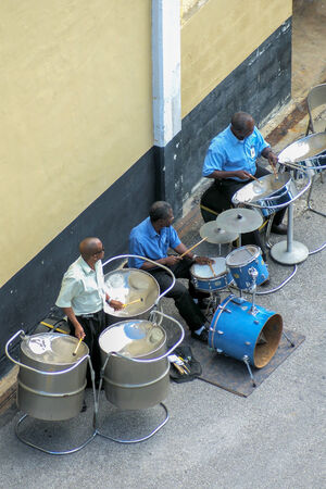 lust for life: Steelband at barbados-harbour is playing a welcome-song