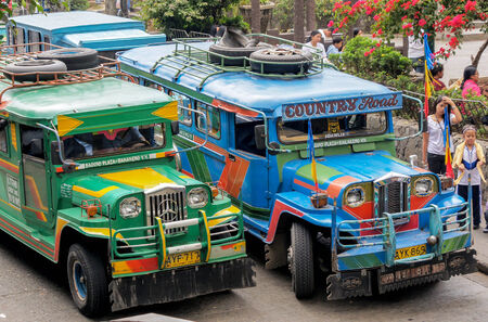 means of transportation: The most typical means of transportation in the Philippines  Jeepneys at a jeepney-stop Editorial