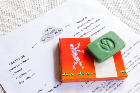 Close-up of a note with information about an Ayurveda treatment, presentation of the joints of the human body and Ayurvedic Soap