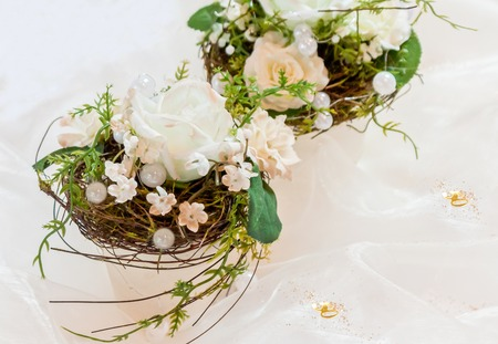 Festive table decoration in creamy white to 50th wedding-anniversary photo