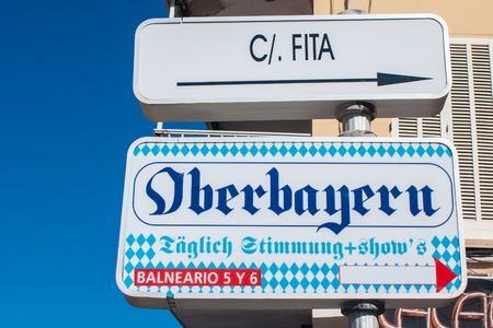 Sign for Oberbayern (Upper Bavaria), a restaurant in the famous and infamous so-called Schinkenstrasse (ham street)  in Palma de Mallorca, Spain Editorial