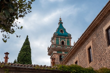frederic chopin: View of the tower of the famous Charterhouse of Valldemossa, Mallorca, Spain