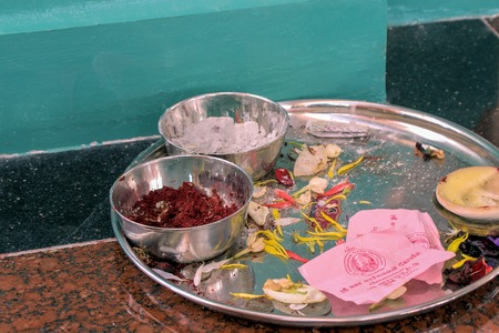 close-up picture of temple offerings in a Hindu temple photo