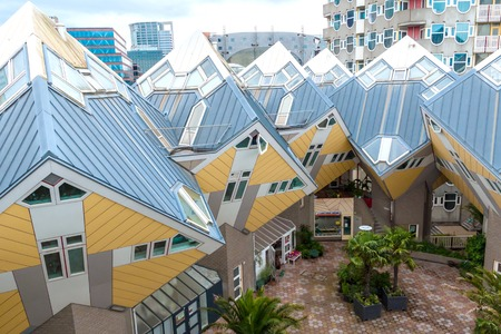 unusual angle: View of Rotterdams famous cube houses
