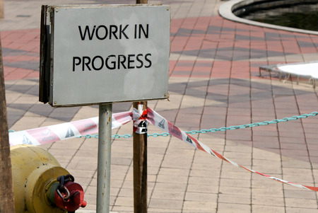 delimit: sign work in progress at a construction site Stock Photo