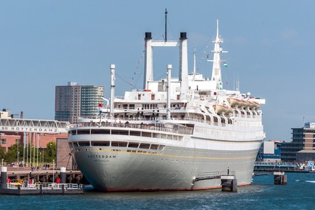 ss: Rotterdam, Netherlands - June 21st, 2014: The SS Rotterdam V, the biggest passenger-ship ever constructed by the Netherlands themselves from 1959. Th ship is used as museum, hotel and tourist-attraction. Editorial