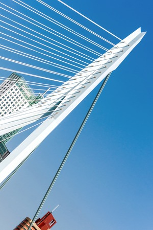 tilted view: Rotterdam, Netherlands - June 21st, 2014: Detail of the Erasmus Bridge in Rotterdam, tilted view Editorial
