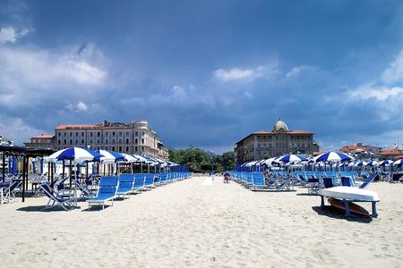 viareggio: View from the beach in Viareggio, Tuscany, Italy, on two historic Art Nouveau hotels