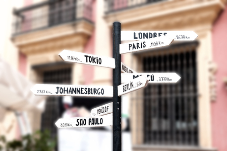 Signpost with names of major cities worldwide and information about distances