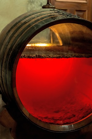 sherry: old sherry barrel with glassfront and sherry content with a layer of the so called Flor
