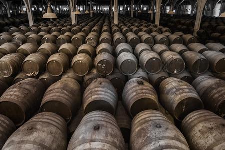 sherry: Look in a large wine cellar with oak barrels