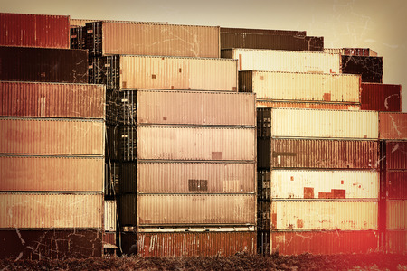 nostalgia: Nostalgia in the harbor - old container stacks in sepia and red colors with aging effects